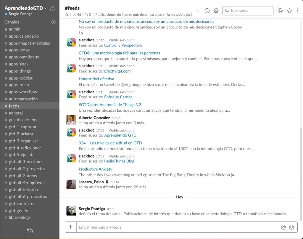 Comunidad Slack «Aprendiendo GTD» en vista versión de escritorio