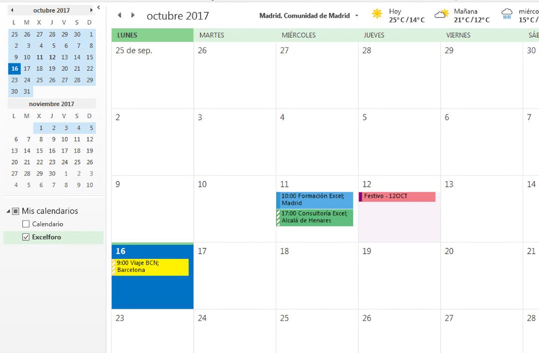 Imagen 1B - Ejemplo de calendario GTD