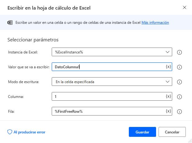 Escribir en la hoja de cálculo de Excel columna 1