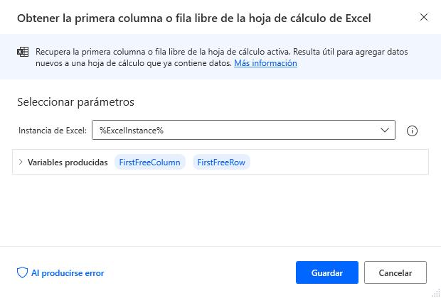 Obtener la primera columna o fila libre de la hoja de cálculo de Excel
