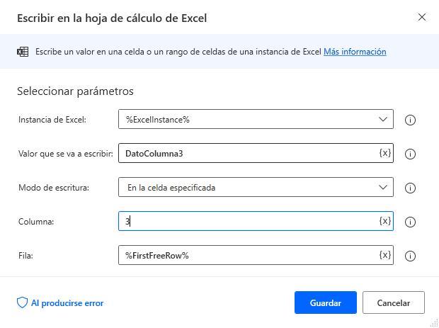 Escribir en la hoja de cálculo de Excel columna 3